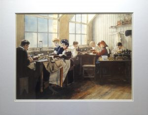 People working on diamonds, from the days when people looked like paintings
