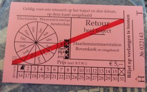 "Ticket is purchased from the conductor on the tram. ""Vergeet u straks niet uit te checken"" is not needed here."